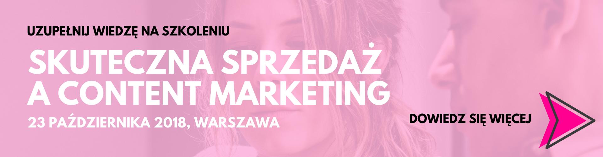 Skuteczna sprzedaża content marketing 23 października warszawa_baner
