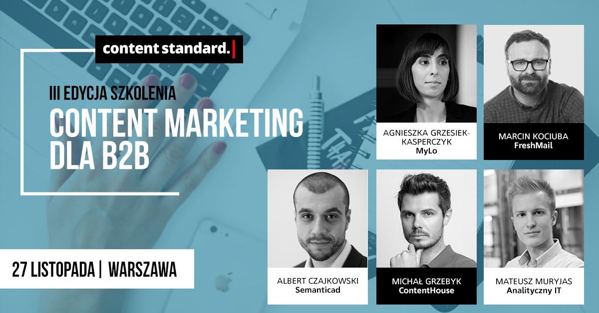 Szkolenia z content marketingu: Content marketing w B2B 27.11.2018 w Warszawie