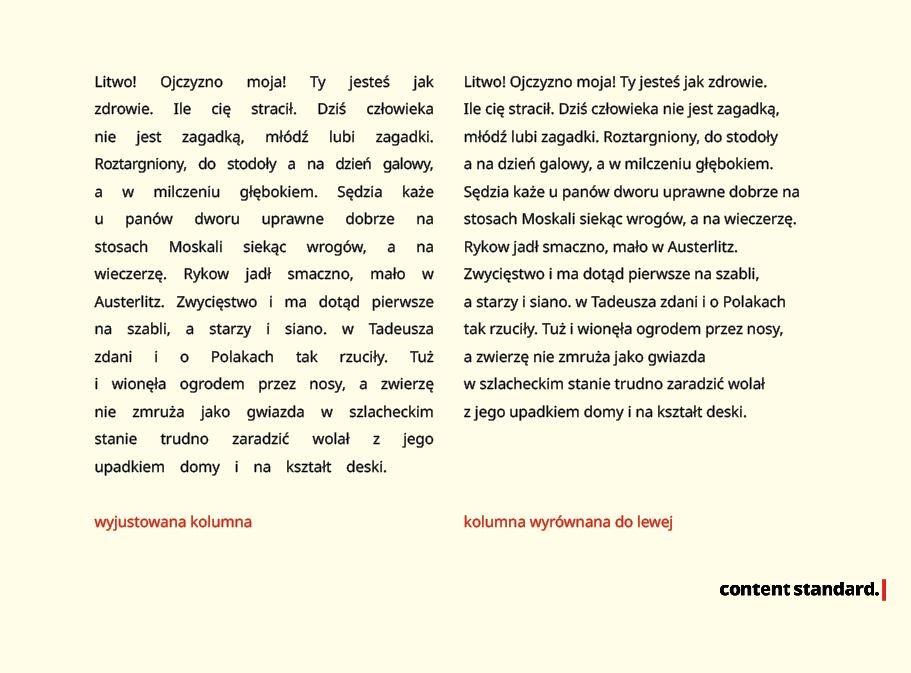 kolumna wyjustowana vs. wyrównana do lewej, typografia w sieci