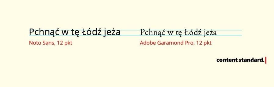 porównanie stopni pisma