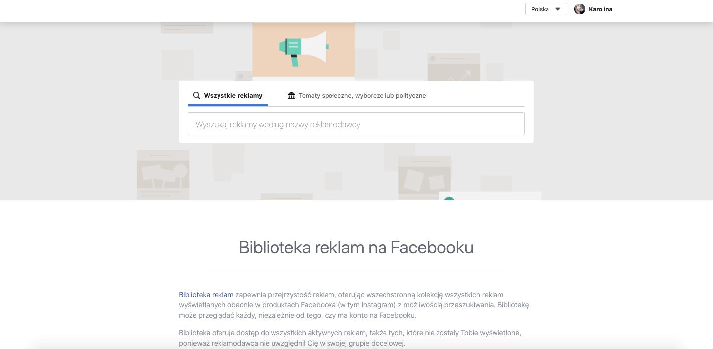 biblioteka reklam na facebooku także przyda się do analizy konkurencji